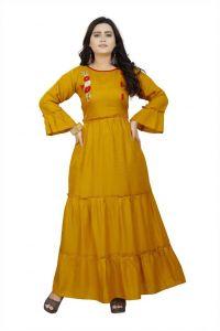 Solid Pattern Rayon Fabric Boat Neck Anarkali Kurta For Women (Color-Yellow)