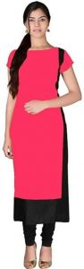 Colorblock Pattern Rayon Fabric Straight Boat Neck Kurta For Women (Color-Pink)