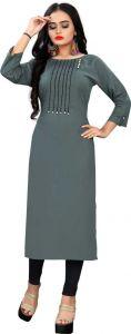 Women Rayon Fabric Solid Pattern Round Neck Straight Kurta (Color - Grey)
