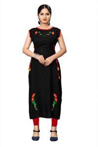 Women Rayon Fabric Embroidered Pattern Boat Neck Straight Sleeveless Kurta (Color - Black)