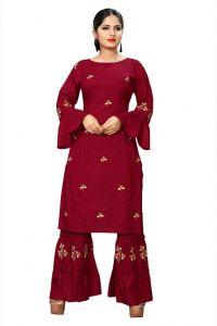 Women Embroidered Pattern Kurta and Sharara Set Rayon Fabric (Color - Black)