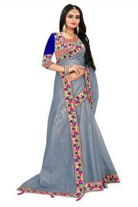 Unstitched Blouse with Solid Fashion Lycra Blend Fabric Saree