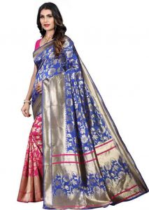 Solid Pattern Fashionable Jacquard Fabric Saree with Unstitched Blouse Piece