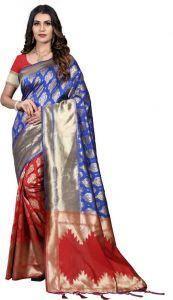 Solid Pattern Fashionable Jacquard Fabric Saree with Unstitched Blouse