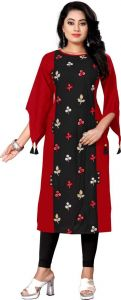 Women Solid Pattern Rayon Fabric Straight Boat Neck Kurta (Color - Black & Red)