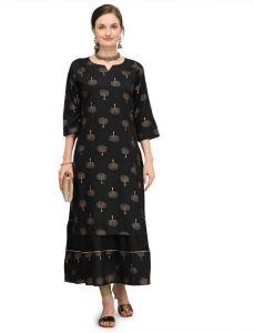 Printed Pattern Rayon Fabric Straight Kurta For Women (Color - Black)