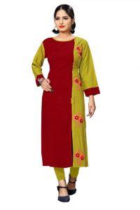 Colorblock Pattern Rayon Fabric Straight Kurta for Women (Color - Light Green)