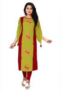 Womens Rayon Fabric Solid Pattern Straight Kurta For Festive & Party (Color - Maroon)