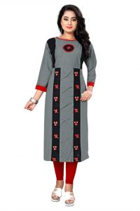 Calf Length Embroidered Pattern Rayon Fabric Straight Kurta For Women (Color - Multi-Color)