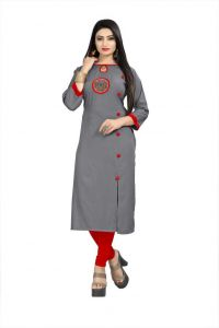 Embroidered Rayon Fabric Straight Kurta For Women (Color - Grey)