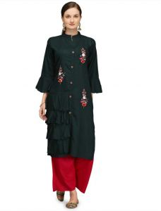 Chinese Neck Embroidered Pattern Rayon Fabric Straight Kurta For Women (Color - Green)