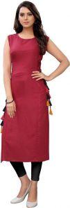 Womens Knee Length Solid Rayon Fabric Straight Round Neck Kurta (Color - Maroon)