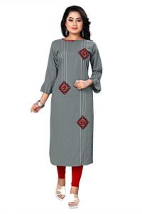 Calf Length Embroidered Pattern Rayon Straight Kurta for Women (Color - Grey)