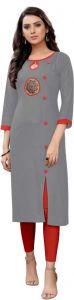 Women Embroidered Pattern Rayon Straight Round Neck Casual Kurta