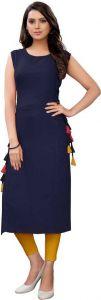 Sleeveless Solid Pattern Rayon Fabric Straight Casual Kurta For Women (Dark Blue)