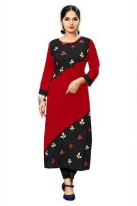 Women Floral Printed Pattern Rayon Fabric Straight Boat Neck Kurta (Black & Red)