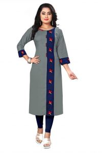 Round Neck Embroidered Pattern Rayon Fabric Straight Kurta for Women (Multi-Color)