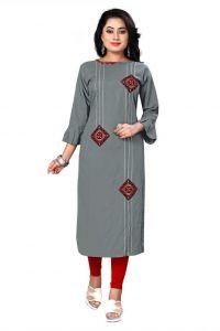 Womens Round Neck Embroidered Pattern Rayon Fabric Straight Kurta (Grey)