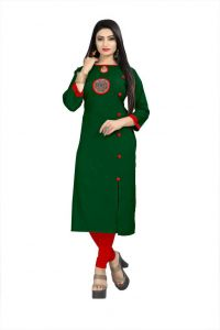 Embroidered Rayon Fabric Straight Kurta For Women (Color - Green)