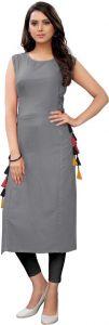 Round Neck Solid Pattern Rayon Fabric Straight Kurta for Women (Grey)