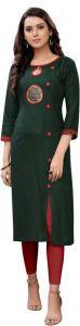 Round Neck Embroidered Pattern Straight Rayon Fabric Kurta for Women (Green)