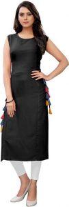 Women Sleeveless Solid Rayon Fabric Round Neck Straight Kurta (Black)