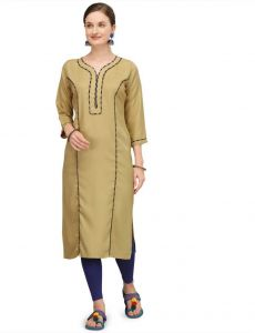 Women Calf Length Round Neck Solid Rayon Fabric Straight Kurta (Beige)