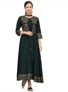 Womens Round Neck Printed Rayon Fabric Straight Kurta (Green)