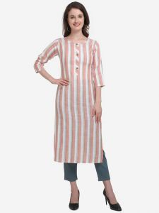 Round Neck Formal Striped Cotton Blend A-line Kurta for Women (Light Pink)