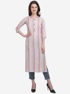Round Neck Formal Striped Cotton Blend A-line Kurta for Women (Pink)