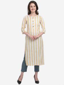 Round Neck Formal Striped Cotton Blend A-line Kurta for Women (Yellow)