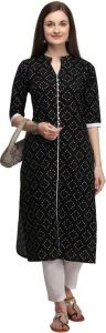 Womens Chinese Neck Printed Cotton Blend Fabric A-line Kurta for Formal Occasion (Black)
