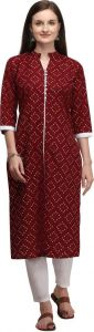 Womens Chinese Neck Printed Cotton Blend Fabric A-line Kurta for Formal Occasion (Color - Maroon)