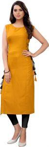 Women Sleeveless Solid Rayon Fabric Straight Round Neck Kurta (Color - Yellow)