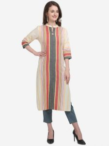 Womens Formal Cotton Blend A-line Kurta with Striped Pattern (Pink)