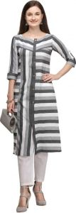 Chinese Neck Striped Pattern Cotton Blend Fabric A-line Kurta for Women (Color - Grey)