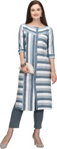 Chinese Neck Striped Pattern Cotton Blend Fabric A-line Kurta for Women (Color - White)