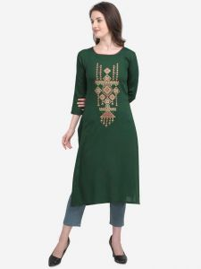 Knee Length Formal Embroidered Pattern Rayon Fabric A-line Kurta Women (Color - Green)
