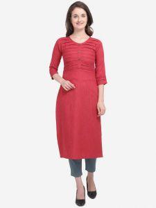 Chinese Neck Striped A-line Cotton Blend Kurta for Women (Color - Orange)