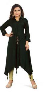 Calf Length Solid Rayon Fabric Collared High Low Kurta for Women (Black)