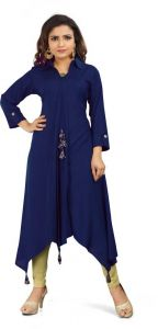 Calf Length Solid Rayon Fabric Collared High Low Kurta for Women (Color - Blue)
