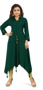 Calf Length Solid Rayon Fabric Collared High Low Kurta for Women (Color - Green)
