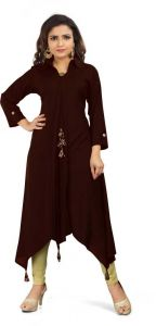 Calf Length Solid Rayon Fabric Collared High Low Kurta for Women (Color - Maroon)