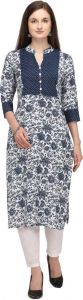 Printed Pattern A-line Cotton Blend Fabric Kurta for Women (Color - Blue)