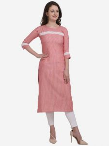 Women Full Sleeve Calf Length Striped Cotton Blend Straight Kurta (Color - Light Pink)