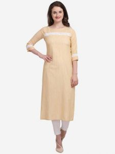 Women Full Sleeve Calf Length Striped Cotton Blend Straight Kurta (Color - Brown)