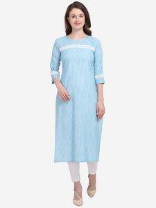Women Full Sleeve Calf Length Striped Cotton Blend Straight Kurta (Color - light Blue)