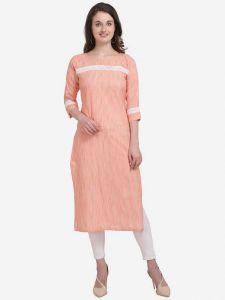 Women Full Sleeve Calf Length Striped Cotton Blend Straight Kurta (Color - Pink)