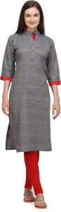 A-line Printed Cotton Blend Fabric Collared Neck Kurta for Women (Color - Grey)