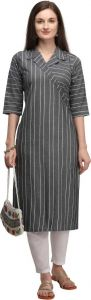 Women Striped Cotton Blend Straight Chinese Neck Kurta (Color - Grey)